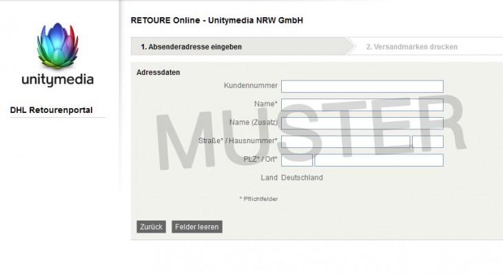 unitymedia retourenschein online ausf llen und ausdrucken. Black Bedroom Furniture Sets. Home Design Ideas