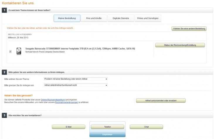 Amazon Retourenschein - Kundendienst