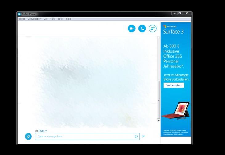 Skype mit aktiver Werbung